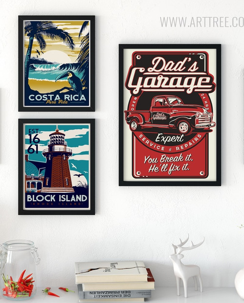 Costa Rica, Block Island, Dads Garage Vintage Prints