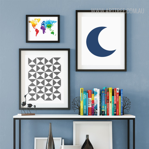 World Map, Geometric Triangles, Half Moon Gallery Wrapped Canvas Prints