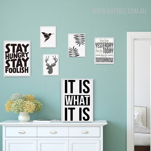 Deer, Bird, Plant, Stay Hungry, It Is Text Nordic Silhouette Black and White Prints