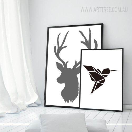 Nordic Silhouette Bird, Deer Black and White Animal Wall Art