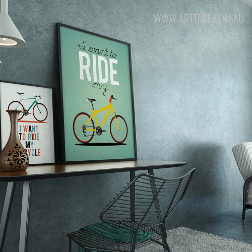 I Want To Ride My Bicycle Quotes Design Art Set