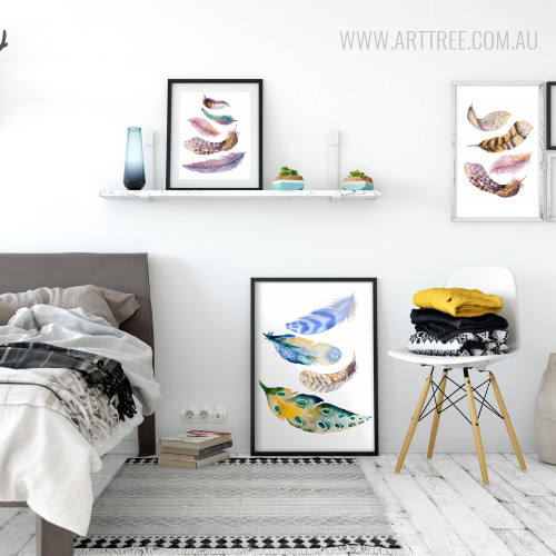 Modern Nordic Watercolor Painted Birds Feather Large Canvas Wall Art