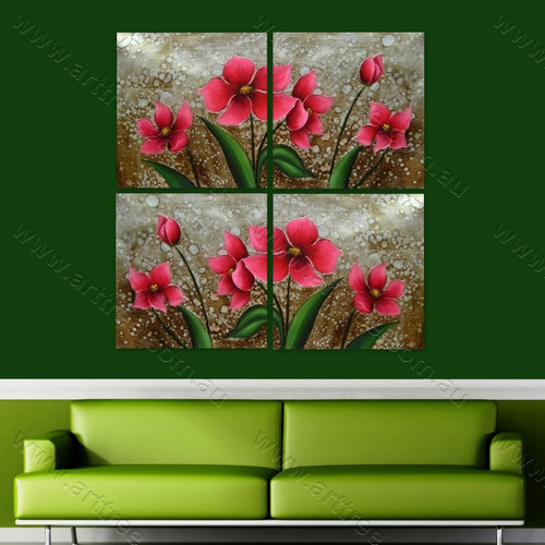Pink Buttercup Floral simple modern artwork