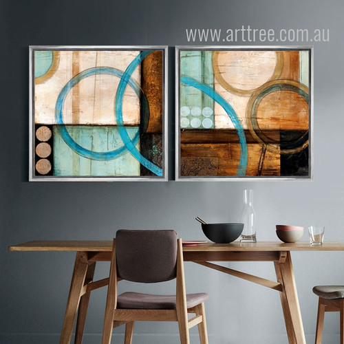 Retro Design Blue and Brown Circles Canvas Prints