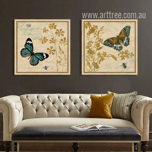 Retro Style Golden Buttercup Flowers and Butterfly Wall Art Prints
