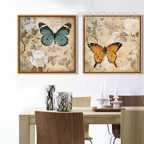 White Rose Floral Blue Brown Butterfly Retro Prints