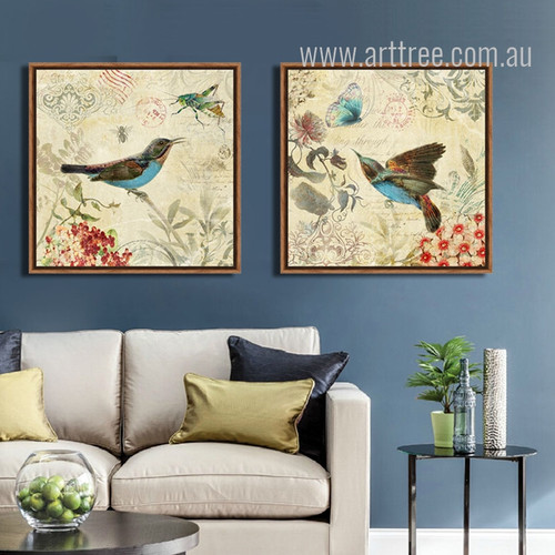 Blue Hummingbird, Bee and Butterfly Retro Canvas
