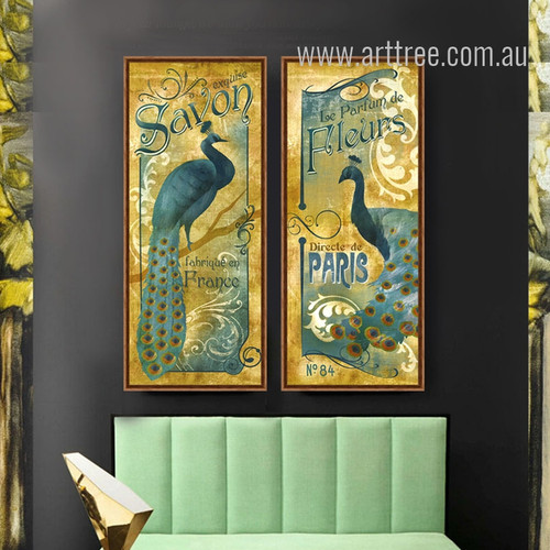 Retro Blue Peacock Combination Exquise Savon, Le Parfum De Print Art Set
