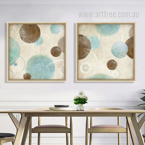 Retro Style Light Blue, Beige and Brown Circles Canvas Pictures