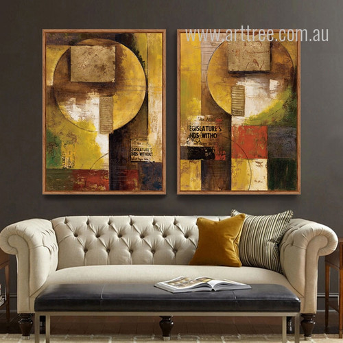 Retro Vintage Abstract Square Moon Painting Prints