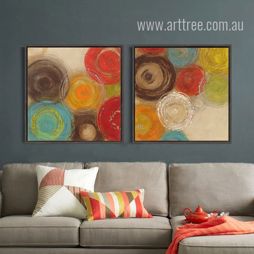 Retro Design Colorful Circles Painting Prints