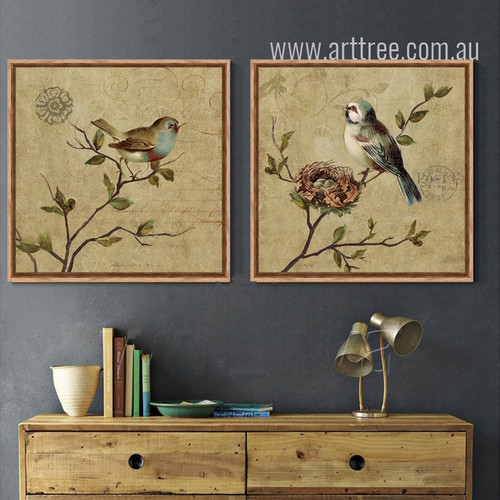 Retro Birds Combination Bee Eater Sparrow Wall Art Decor