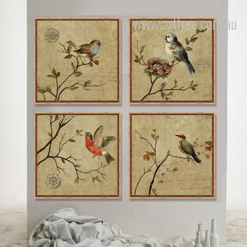 Retro Birds Combination Bee Eater, Sparrow 4 Piece Art Prints