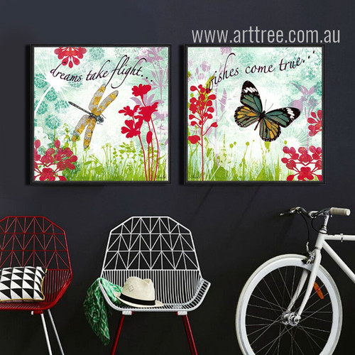 Retro Dreams Take Flight Dragonfly, Wishes Come True Butterfly Painting Prints
