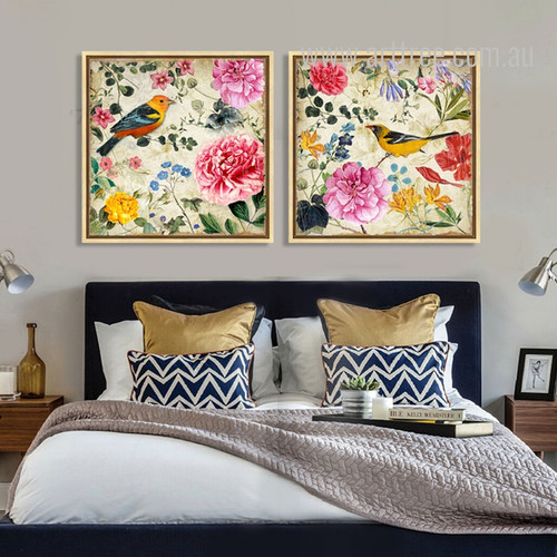 Retro Syle Birds, Floral Painting Prints