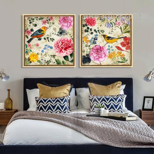 Retro Syle Birds, Floral Painting Prints