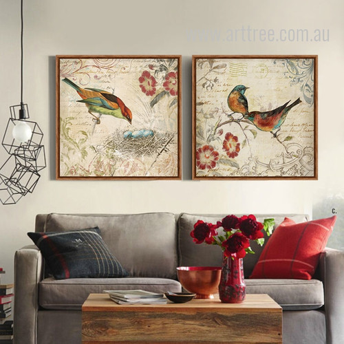Morning Glory Birds Nest Retro Artwork Prints