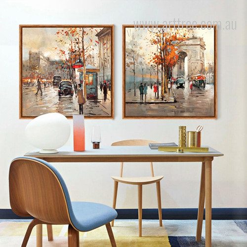 Retro Style Paris France Street Scenery Painting Prints