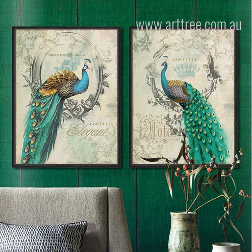 Retro Vintage Green Peacock Bird Nobility Elegant Living Room Wall Decor