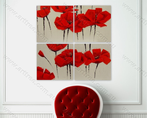 Red Peony split oil painting