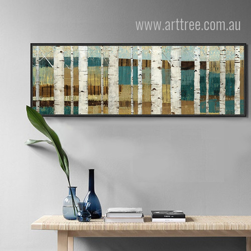 Retro Vintage Abstract Birch Tree Scenery Painting Print