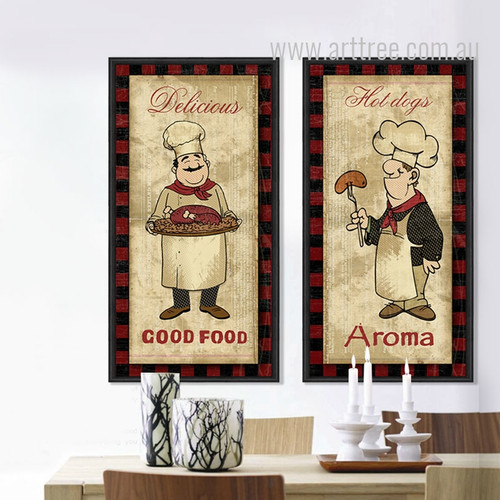Retro Posters of Cartoon Chef Cook Turkey, Hot Dogs Kitchen Decor