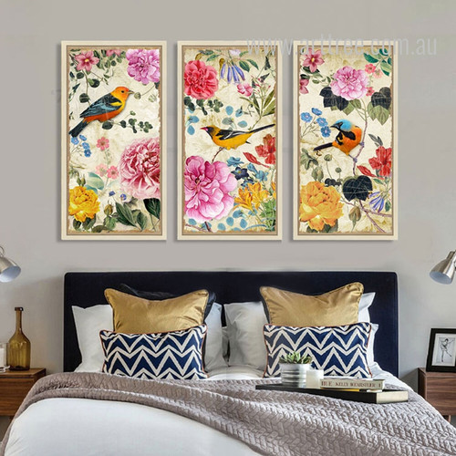 Retro Design Birds and Flowers Combination Long Vertical Wall Art
