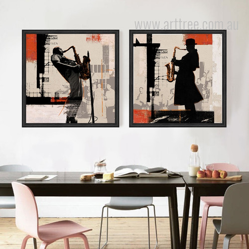 Rock Jazz Saxophone Performances Silhouette Retro Poster Prints
