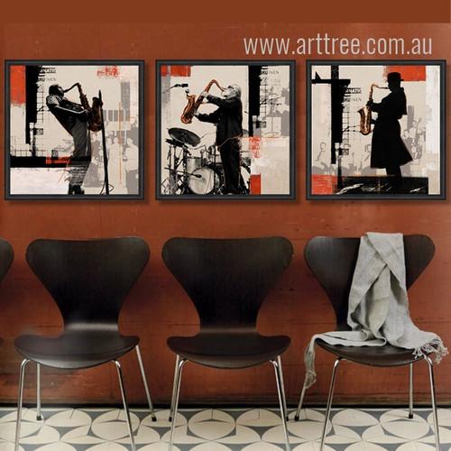 Rock Jazz Saxophone Performances Silhouette Retro Prints
