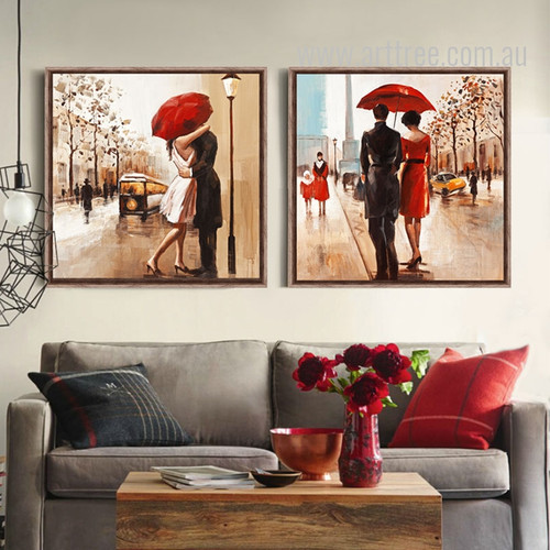 Couples under Red Umbrella Love on Street Retro Prints