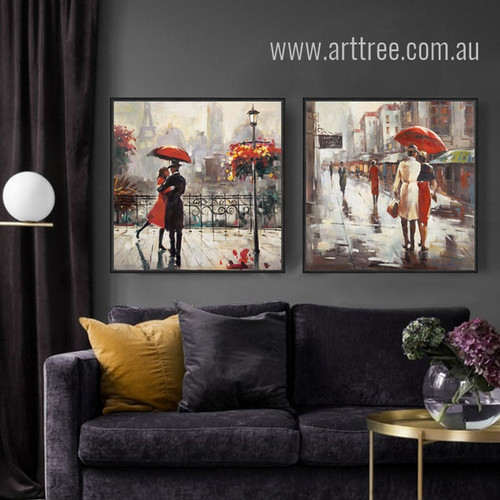 Retro Style Romance under Red Umbrella Couple Walk on Street Wall Art