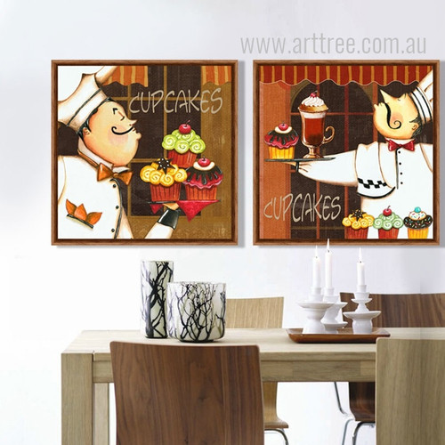 Retro Style Chef with Cup Cakes Desserts Art Set