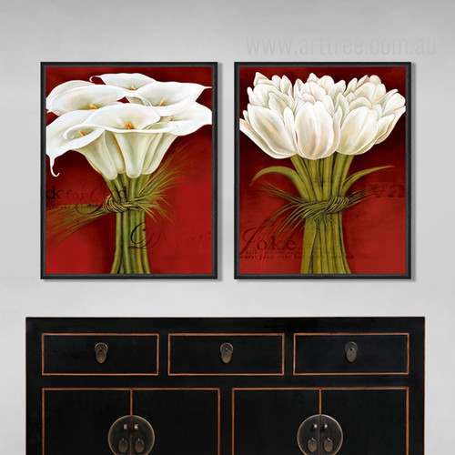 Retro Design Tulips Bouquet White Flower Wall Art