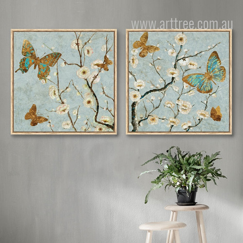 Retro Color Butterfly Blossom Tree Floral Canvas Art