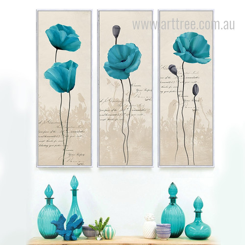 Retro Style Blue Poppy Flower Long Vertical Wall Art