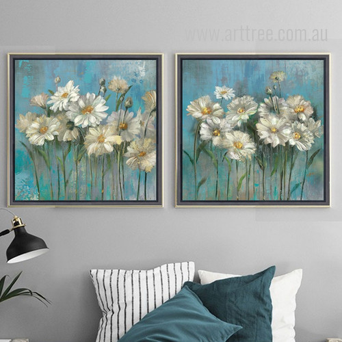 Retro Vintage Green and White Daisy Flowers Painting Prints