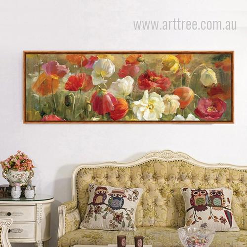 Retro Color Poppy Flowers Botanical Canvas Art