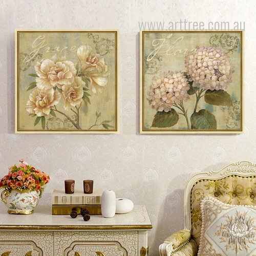Retro Vintage Hydrangea Flower Canvas Prints