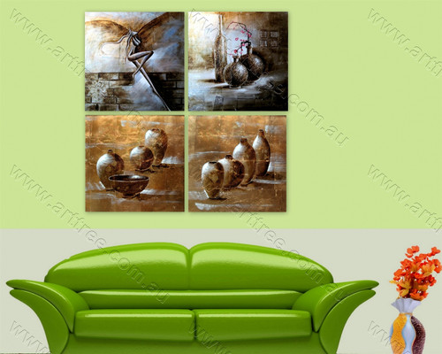 Angel & Ancient Pots Multi Panel Abstract Painting