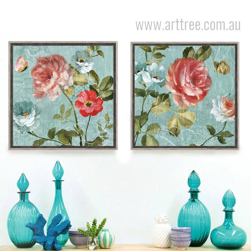 Light Blue Background Peony Floral Butterfly Retro Prints