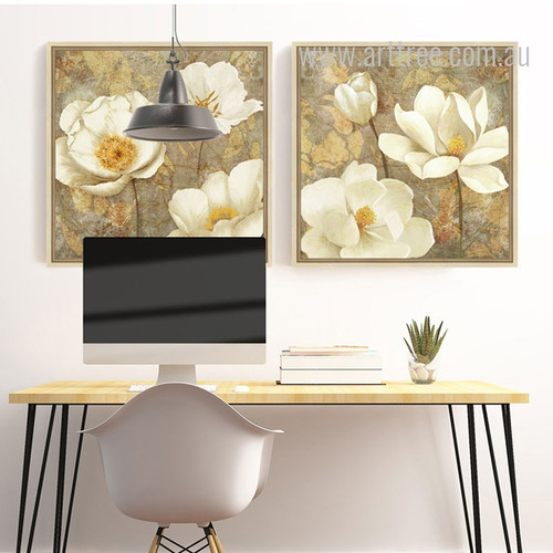 Retro Style Golden White Magnolia Floral Wall Art