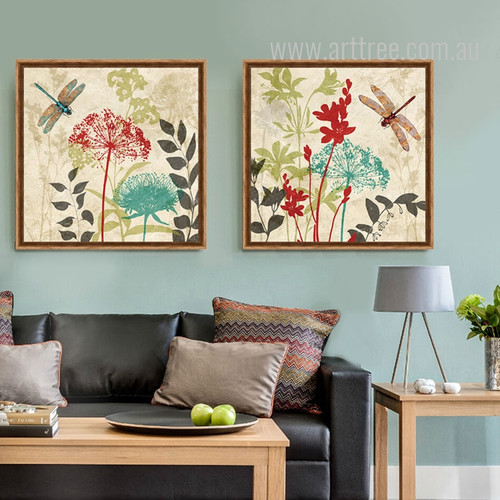 Retro Color Flowers and Dragonflies Leaf Art