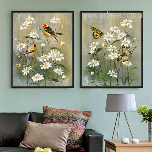 White Buttercup Flower Birds Butterfly Retro Prints