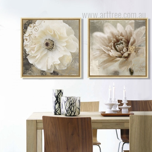 Retro Design Poppy and Daisy Flower Botanical Print Sets
