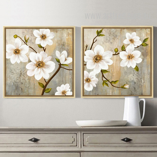 Retro Style Spring Fresh White Floral Wall Art