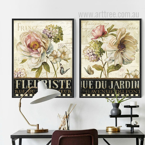 Retro Vintage Peony Fleuriste France Paris Floral Canvas Art