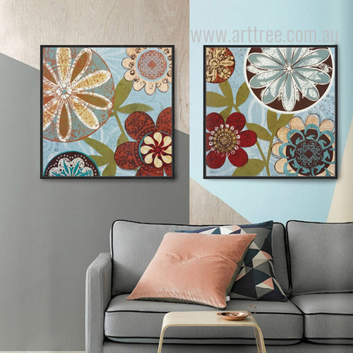 Retro Design Colorful Mandala Floral Wall Art