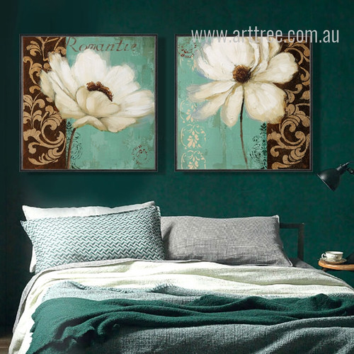 Retro Style Emerald Green and White Poppy Flower Painting Prints