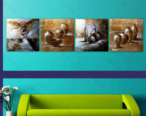 Angel & Ancient Pots multi panel wall art painting
