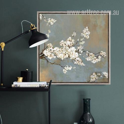 White Cherry Tree Flowers Retro Prints